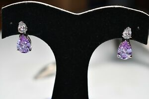 Sterling Silver Pear Shaped Lavender & Clear CZ Drop Dangle Post Earrings