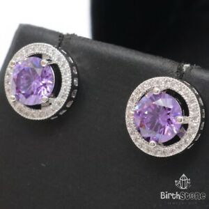 Gorgeous Round Purple Amethyst CZ Halo Stud Earrings Women White Gold Plated