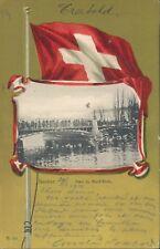 SWITZERLAND Geneve white mount bridge patriotic 1913 PC