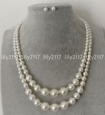 "Shell Pearl Necklace Earrings Set 18-20"" Natural 2 Rows 6-12mm White South Sea"