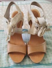 WITCHERY Tan Canvas Leather Tie Up Stilettos High Heels Timber Size 38