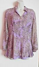 NEW YORK CITY DESIGN CO. SILK LONG SLEEVE SHEER BEADED  TUNIC TOP, M