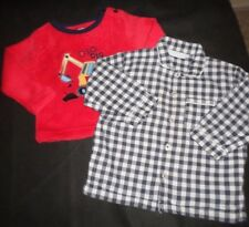 BOYS AGE 12-18 MONTHS LONG SLEEVED CHECK SHIRT AND FLEECE JUMPER
