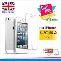 100% GENUINE TEMPERED GLASS SCREEN PROTECTOR COVER FILM FOR IPHONE 5 5S 5C SE