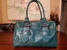 Longchamp Kate Moss Gloucester Metallic Blue Leather Duffel Handbag NWOT $1215