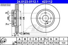 2x Bremsscheibe für Bremsanlage Vorderachse ATE 24.0123-0112.1