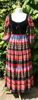 Vintage 1970's KATI Folk Boho Festival Dress Velvet Bodice UK 8/10