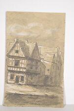 Dessin original XIX° Bretagne, Maison à colombages, Auray Saint Goustan ?