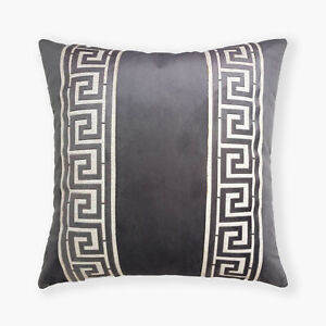 Greek Border Trim Decorative Super Soft Velvet Cushion Cover 16X16 in 40 X 40 cm