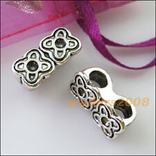 4 New Charms 2 Hole Flower Spacer Bar Beads Connectors 9x18mm Tibetan Silver