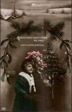 Christmas - Cute Kids w/ X-Mas Tree c1910 Tinted Real Photo Postcard #3 rpx