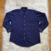 Jhane Barnes Mens Button Up Dress Shirt  16.5-32/33 Blue Herringbone Euro Fabric