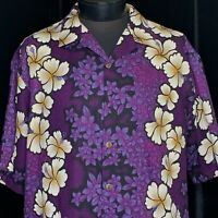 Hilo Hattie Hawaiian Aloha Shirt Barkcloth Floral Purple Size XL White Hibiscus