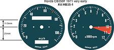 HONDA CB350F CB400F CB500F FOUR SPEEDO TACH REV COUNTER GAUGE DIAL FACE OVERLAYS