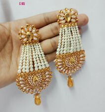 Gold Pearl Ruby Earring Diwali Yellow Gold Filled Indian Fashion Jewelry Box