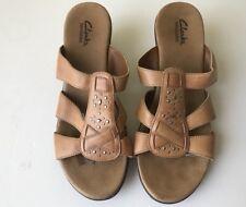 Women's Clarks Bendables Slip On Sandals With Heel Light Brown 8 M