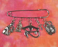 Egyptian Kilt Pin Brooch w/ 5 Charms Egypt Bast Ankh Isis Eye of Ra Horus Scarab