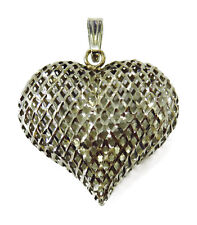 14K White Gold Puffed Heart Charm Necklace Pendant ~ 1.3g