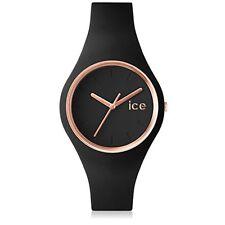 Ice-Watch Damen-Armbanduhr 1615 Analog Quarz Kautschuk Silikon Schwarz Roségold