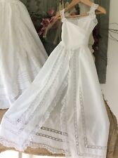 Antique French Baby Christening Gown ~Fine Lawn ~Exquisite Hand worked Fine Lace