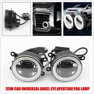 2PC Car Universal LED Angel Eye Fog Lamp Daytime Light Front Bumper Lighting 12V