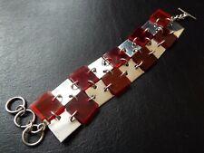 TEGO & CO Vintage Sterling Silver and Red Lucite Panel Bracelet