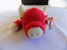 """Snort the Red Bull TY Beanie Baby 1995 Heart Tag 9"""" Nose to Toes"""