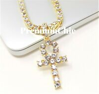 Iced ANKH Cross Pendant & Tennis Chain Mens Hip Hop Necklace 14k Gold Plated