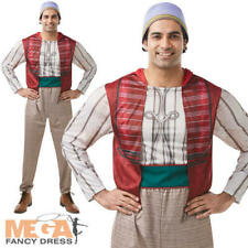 Aladdin Mens Fancy Dress Disney Arabian Prince Fairy Tale Adults Costume + Hat