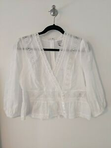 FOREVER NEW White Lace Peplum Top SIZE 12