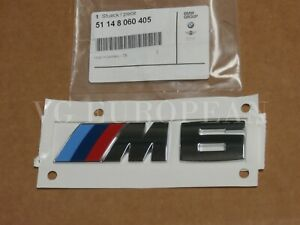 "BMW Genuine F12 F13 F06 6-Series Chrome Trunk Emblem ""M6"" Lettering Decal Badge"