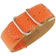 18mm Fluco Germany 2-Piece Mens Orange Leather MoD G10 Military Watch Band Strap