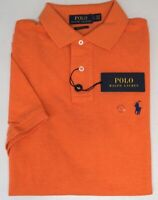 NEW $89 Polo Ralph Lauren Orange Shirt Mens Short Sleeve Cotton Mesh Custom Slim