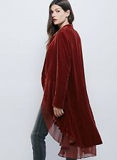 NEW Free People rusty red Oversized Swingy Ruffled Velvet Duster Jacket Coat S