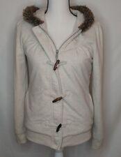 Women's Beige ROXY HOODY SWEATER JACKET Hoody Size Small Zipper & Bayonette