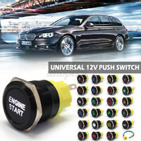 22mm 12V 24V Waterproof Car LED Power Push Button Momentary Switch Metal ON/OFF