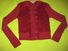 Uniform John Paul Richard M Medium Maroon Leather Quilted Suede Sweater Jacket