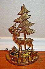 Vintage Brass Candle Stick Holders Christmas Tree Raindeers
