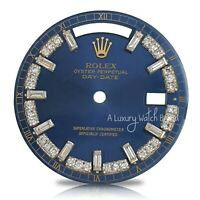 For Rolex Day-Date 18038 18238 Blue String Baguette Diamond Dial 36mm Watch
