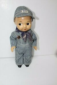Rare Buddy Lee Composition Doll Union Made Striped Overalls Railroad Engineer