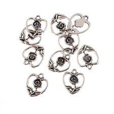 Flower Heart Beads Tibetan Silver Charms Pendant Fit DIY Bracelet 15*15mm 10pcs