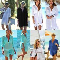 Sexy Women V Neck Bikini Cover Up Swimwear Bathing Suit Summer Beach Dress US