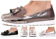 New Womens Low Wedge Heel Slip On Metallic Shimmer Tassled Brogue Loafers