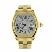 Cartier Roadster 18k Yellow Gold Silver Dial Ladies Quartz Watch Box/Papers 2676