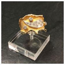 Extravaganter mattierter Brillantring 585 er Gold mit 3 Brillanten Goldring Ring