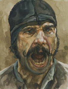 Bill The Butcher ART PRINT from original watercolor GANGS of NEW YORK 13x19in