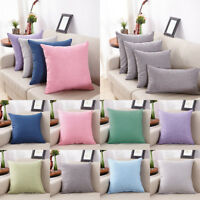 Soft Cotton Linen Pillow Case Sofa Waist Throw Cushion Solid Cover Home Decor