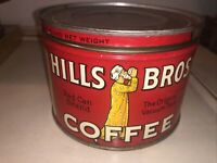"VINTAGE HILLS BROS ONE POUND COFFEE TIN CAN 1936 ~ RED CAN BRAND 3.5"" x 5"""