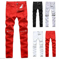 Men's Ripped Jeans Pants Biker Skinny Slim Distressed Denim Zip Trousers 28-42