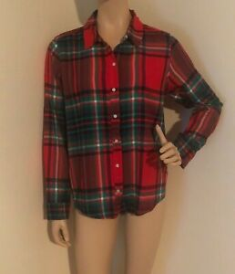AERIE American Eagle Outfitters AE Flannel Red Green Plaid button shirt Medium